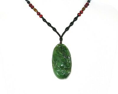 """2.3"""" China Certified Nature Hetian Nephrite Green Jade Wealth Fish Necklace"""