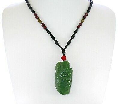 "1.9"" China Certified Nature Hetian Nephrite Green Jade Fortune Toad Necklace"