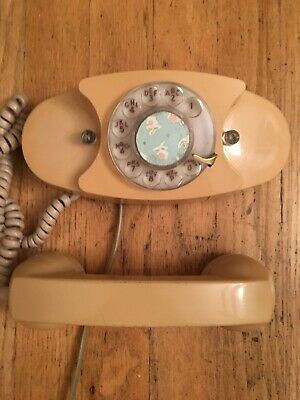 VINTAGE WESTERN ELECTRIC Princess Rotary Dial Telephone Tan Ivory Desk Phone