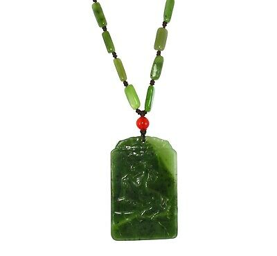 "2.4"" China Certified Nature Hetian Nephrite Green Jade Lucky Horse Pendants"