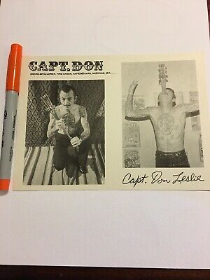 1960's CAPT.DON LESLIE  Postcard Lee Roy's Old School Tattoo Parlor Long B Pike