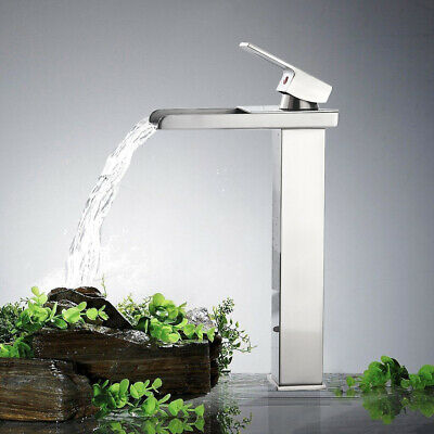 Bathroom Basin Vessel Sink Faucet Waterfall Spout With Deck Plate Brushed Nickel