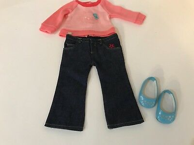 American Girl Doll Pink Kitty sweater, jeans, shoes Blaire, Luciana, truly me