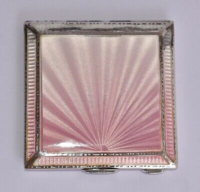 1939 Sterling Silver and Guilloche Enamel Compact / Mirror - Pink Sunburst