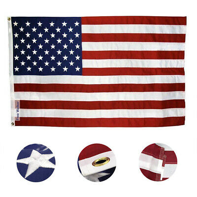 3x5 ft American Flag Embroidered Stars Sewn Stripes Grommets Nylon Decoration US