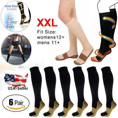 6 Pairs Copper Fit Energy Knee High Compression Socks, SM L/XL XXL Free Ship USA