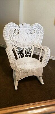 Ornate Vintage White Wicker Rocking Chair