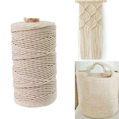 5mm Macrame Rope Natural Cotton Twisted Cord Artisan Hand Craft Beige AU Stock