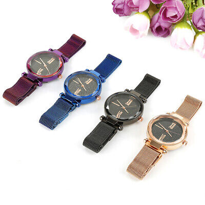 Lady Watch Starry Sky Diamond Dial Women Bracelet Watches Magnetic Stainless UK