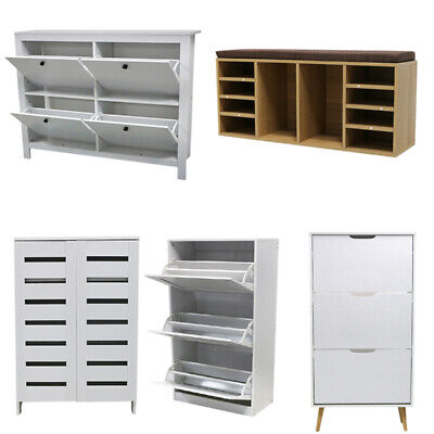 Organiser Shoes Storage Cabinet Features 2/3/4 Tiers Rack Stand Unit Cupboard UK