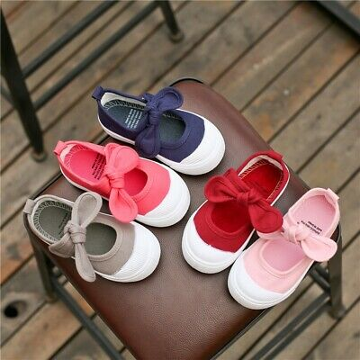 Infant Kids Baby Girls Canvas Cute Butterfly-knot Single Princess Slip-On Shoes