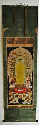 Lg Antique Japanese Kakejiku Scroll Painting Amida Buddha Triad Signed Dated Edo