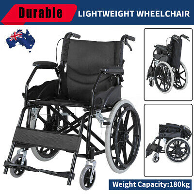 AU ! Portable Folding Wheel Chair Wheelchair Lightweight Mobility Aid Transport