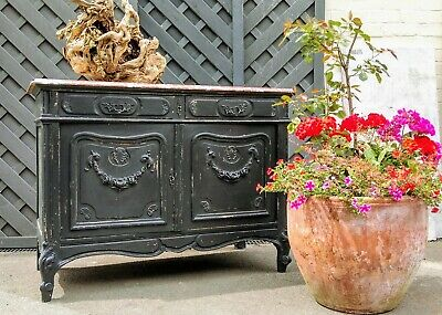 A Beautiful Late 19Th Century French Painted Marble Top Commode/Cupboard/Buffet