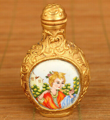 Chinese rare old cloisonne hand painted pretty belle statue snuff bottle gift