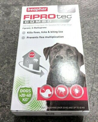 Beaphar FIPROtec Combo Spot On Solution For Large Dogs 3 Pipettes - NEW