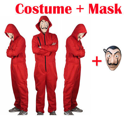 Salvador Dali La Casa De Papel Money Heist Red Jumpsuit Mask Costume Cosplay KK