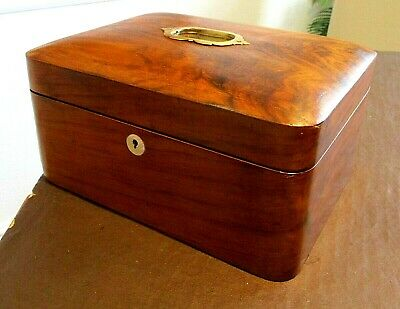 Victorian Flame Mahogany Sewing/Jewellery Box,Lovely Interior ,Tray,Brass Handle