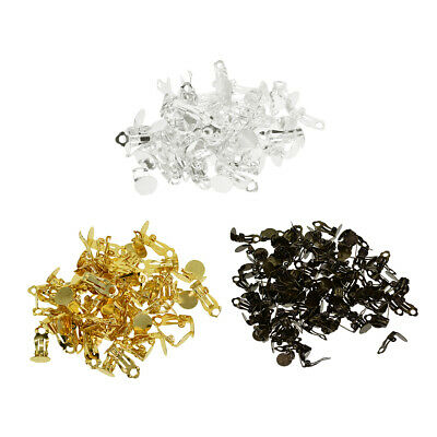 100x Metal Ear Clip Tray Clip On Cabochon Earring Setting Base Blank Finding