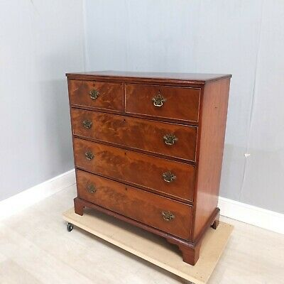 Georgian Flame Mahogany Chest Of Drawers With Swan Neck Handles (176)