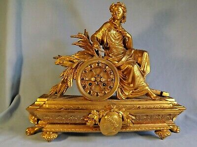 19C French Gilt Metal Clock Japy Freres Working Order.