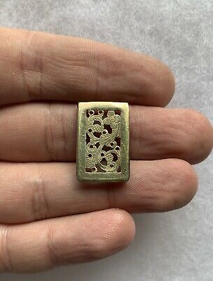 1800s Victorian Gold Gilt Sterling Silver Vinaigrette Door Cover Birmingham