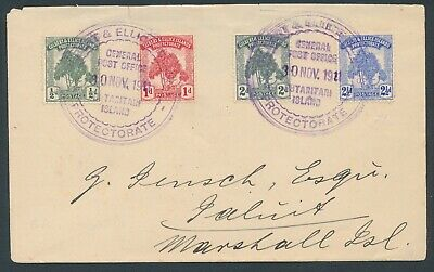 1911 plain envelope  envelope to marshall islands with pine ½ - 2½d set...