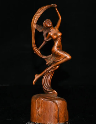 "8.2"" Old Chinese Boxwood Wood Carving dancing ballet Belle beauty Sculpture"