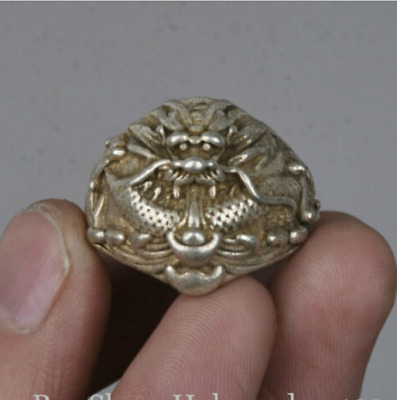 2cm Old Chinese Miao Silver Zodiac  Year dragon Head finger ring