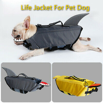 Pet Dog Life Swimming Jacket Shark Float Vest Adjustable Buoyancy Aid Costume Su