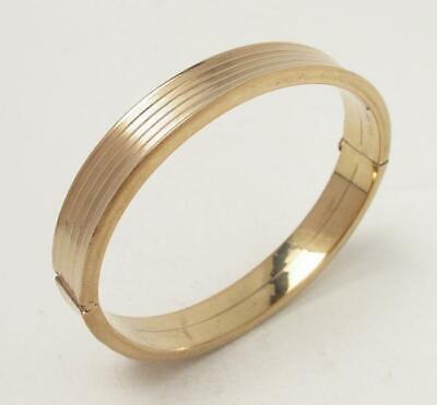VINTAGE 8ct YELLOW GOLD HINGED BANGLE 34.8gm 10.3mm WIDE CUFF HALLMARKED 333
