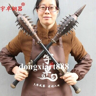 73 cm Chinese Bronze Copper Dragon Head wolf's fangs mace stick cudgel weapon