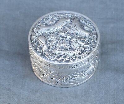 Antique Chinese Export Silver Round Covered Box with Dragon signed