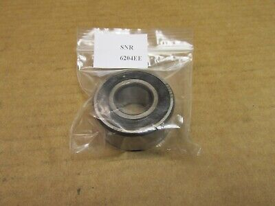 "SNR 6204EE BEARING RUBBER SEALED 6204 EE 6204-2RS 20mm ID x 47mm OD x 13/16"" W"