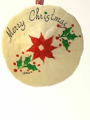 """HAND PAINTED CHRISTMAS BLESSING WISH 2/"""" HEART POINSETTIA PLAQUE ORNAMENT N584"""