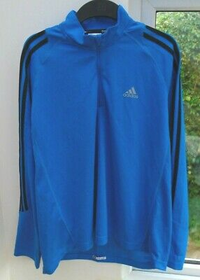 adidas RESPONSE CLIMALITE BLUE LONG SLEEVED TRAINING RUNNING SHIRT JERSEY XL