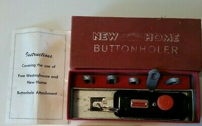 Vintage New Home BUTTONHOLER Sewing Machine Attachment with Extra Button Die Set