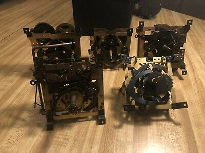 Lot Of 5 Cuckoo Clock Movements Vintage For Parts And Repairs