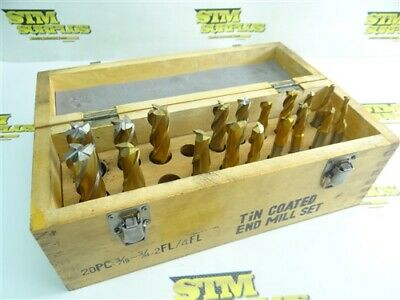 """Almost Complete! 18Pc Hss +Tin Coated 2 & 4 Flute End Mill Set 3/16"""" To 3/4"""""""