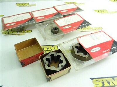 """6 New & Used Assorted Cleveland Hss Hex Dies 7/16""""-20Nf & 1""""-12Nf"""