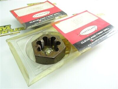 """New! Pair Of Cleveland 2-1/2"""" Od Hss Hex Dies 1-1/4""""-12Nf"""
