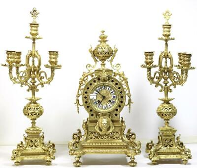 Magnificent French 8 Day Solid Bronze Eastern Style Mantle Clock Garniture Set