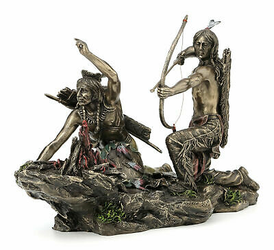 Native American Indian Warriors Hunting Statue Sculpture Figure *GIFT BOXED
