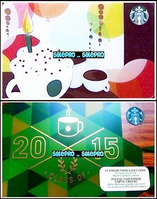 2x STARBUCKS COFFEE US BIRTHDAY CUP CAKE CLASS OF 2015 COLLECTIBLE GIFT CARD LOT