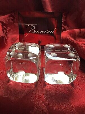 Near FLAWLESS Exquisite BACCARAT France Crystal 2 DIE DICE Figurine Paperweight