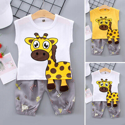 Baby Kids Summer Tops+short Giraffe Printed Set Sleeveless Jogger Clothing