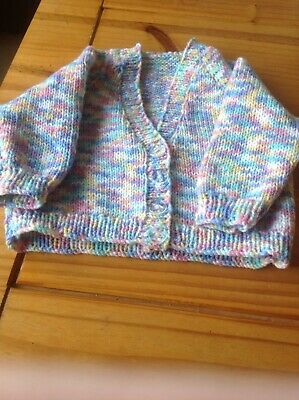 NEW Multi Colour Hand knitted Cardigan With Long Sleeves Size 9-12  Months