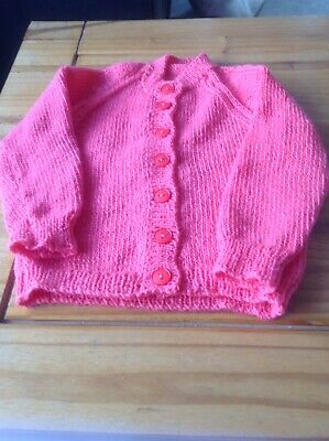 NEW Orange Pink Hand knit Longer Length Cardigan With L/Sleeves Size 12-18Months
