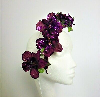 Purple Camelia Flower Fascinator Hat Headpiece Ascot Races Wedding Ladies Day