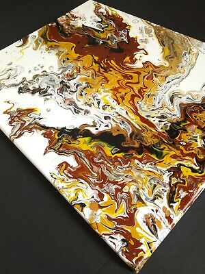 "ACRYLIC POUR PAINTING ORIGINAL ARTWORK 16""x 20"" CANVAS ABSTRACT ART WALL DECOR"